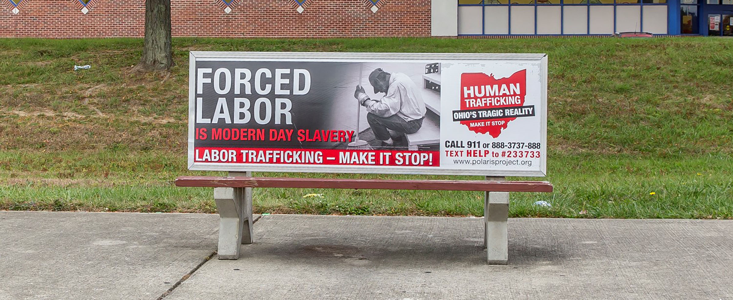 Ohio's Human Trafficking Awareness Campaign Materials Featured Through A  Bench Campaign In Central Ohio Human Trafficking